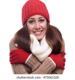 Portrait of freezing pretty woman isolated on white.