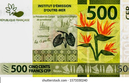 Portrait from French Pacific Territories 500 Francs 2014 banknotes, Papaya fruit and leaf. Tapa cloth patterns (Wallis Island). Kava leaves. Bird of Paradise flower (Strelitzia reginae). Collection.