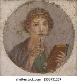 Portrait (fresco) of Sappho, Archaic Greek poet from Lesbos.