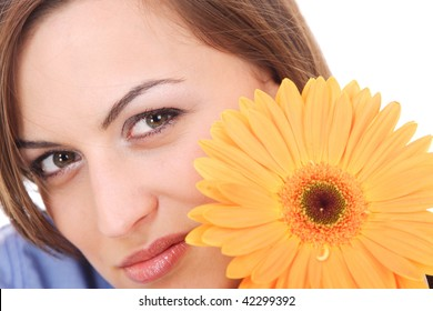 Portrait of Fresh and Beautiful woman with flower isolated on white