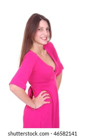 Portrait of a fresh and lovely woman in a pink dress over white background