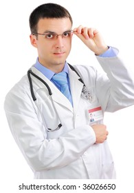 Portrait of friendly medical doctor with stethoscope. Isolated.