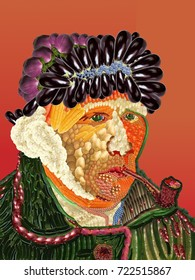 Portrait of fruits and vegetables Van Gog made of fruits and vegetables