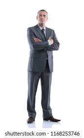 portrait in full growth. successful smiling businessman.
