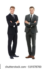 portrait in full growth - two smiling and successful business pa