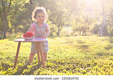 Portrait of a  funny and adorable little girl in the park,sunny and warm day,joy with watermelon