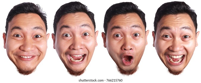 Portrait of funny asian man facial expressions isolated on white, happy smiling excited shocked face