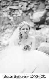 Portrait of funny bride