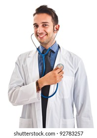 Portrait of a funny doctor examining himself