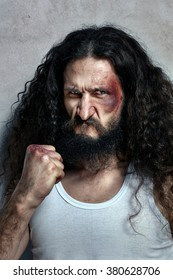 Portrait of a funny injured fighter