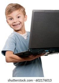 Portrait of funny little boy with notebook over white background