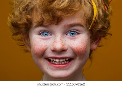 сlose up portrait of funny little  child with orange hair and freckles, redhead boy with freckles, kid with feathers in hair