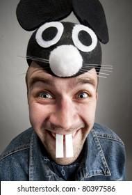Portrait of funny man in rabbit hat