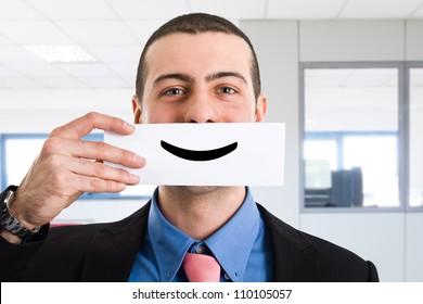 Portrait of a funny smiling businessman
