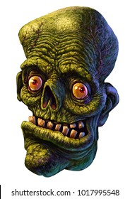 Portrait of a funny zombie man. Horror. Halloween. Isolated illustration on white background