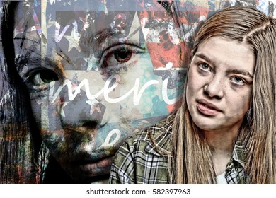 Portrait for the Future Generation of Americans Youth Collage of a Young Woman in Front of a Backdrop of Her Own Face Masked By a Flag Design with America Repeating Across Her Face