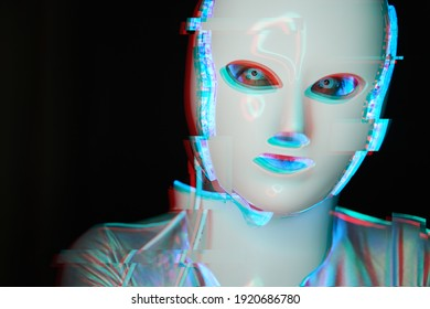 Portrait of futuristic robot. Image with glitch effect. Concept of future technology, virtual assistant, robotic, artificial intelligence and cyber security.