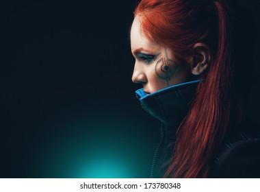 Portrait of futuristic women.