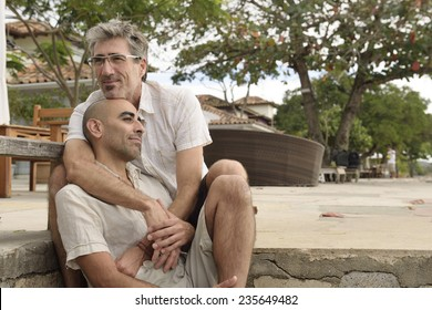 Portrait of a gay couple hugging
