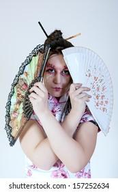 portrait of geisha. traditional make up