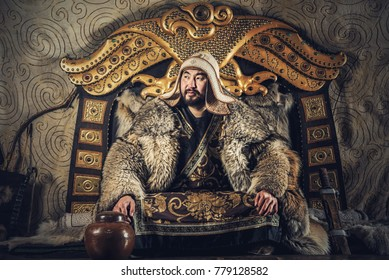 Portrait of Genghis Khan or Chinggis Khaan in warriors traditionally wearing typical Mongolian dress culture of Mongolia