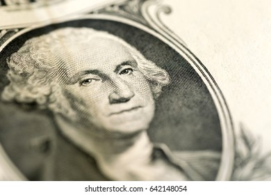 Portrait of George Washington on 1 dollar bill, close-up