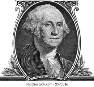 Portrait of George Washington on one dollar banknote