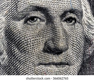 Portrait of George Washington on one-dollar of United States of America .