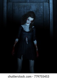 Portrait of ghost woman in the dark,Horror background 3d illustration
