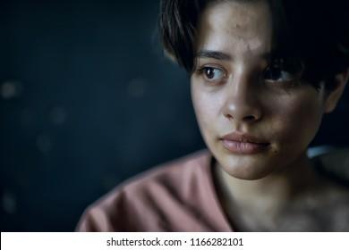 portrait girl artist / genre portrait of a poor girl, the concept of education, training, art. Art school, teen girl