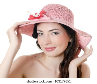 Portrait of the girl in beach hat