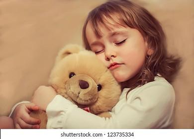 portrait girl with bear