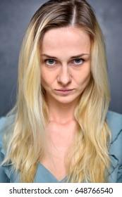 Portrait of a girl blonde, closeup