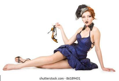 """portrait of a girl in a blue dress in the style of """"Moulin Rouge"""""""