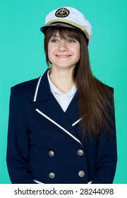 Portrait of the girl - captain on a blue background
