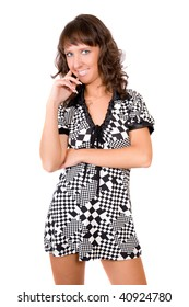 Portrait of the girl in a checkered dress