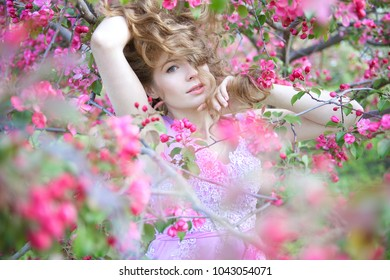portrait of a girl in the cherry blossoms