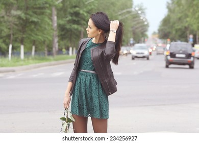portrait of a girl in the city