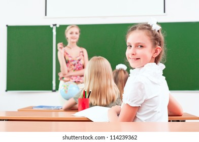portrait of the girl in the class, the teacher tells the next school board