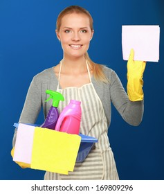 The portrait of girl - concept Cleaning, isolated on blue background