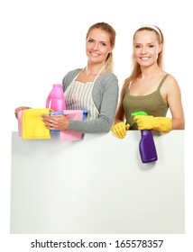 The portrait of girl - concept Cleaning standing, isolated on white background