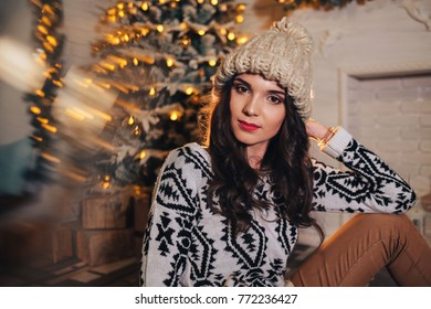 Portrait of girl in cozy winter outfit