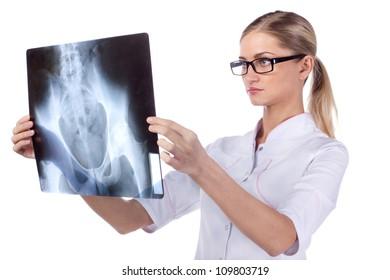Portrait of a girl doctor. phonendoscope, ECG, X-ray