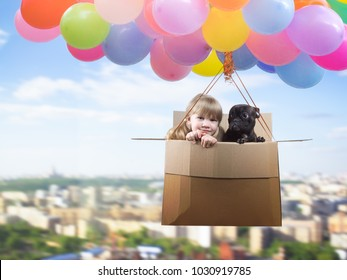 Portrait of a girl and a dog. Friends are flying in a cardboard box on the balloons. The concept of children's imagination, travel dreams