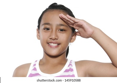 Portrait of girl doing a military