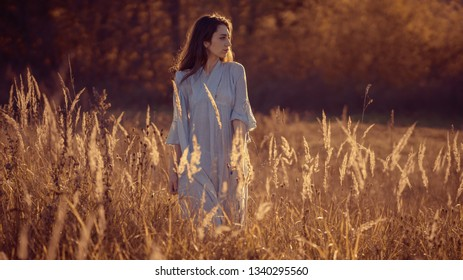 Portrait of a girl in a dress on an autumn background