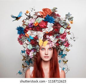Portrait of girl with flower crown