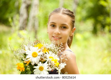 Portrait of girl with flowers.