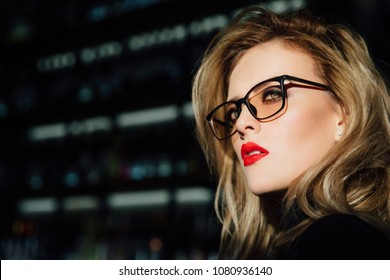 4e8bffe08e8 portrait of a girl in glasses. Beautiful young blonde