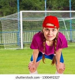 Portrait of a girl in a goal